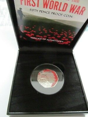 2018 ISLE OF MAN THE CENTENARY OF FIRST WORLD WAR COLOURED POPPY PROOF 50p