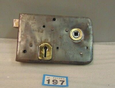 Antique  Brass And Steel Rim Door Lock  197
