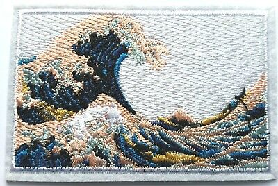 Hokusai Wave Embroidered Patch Iron On Quality Japan Painting Art