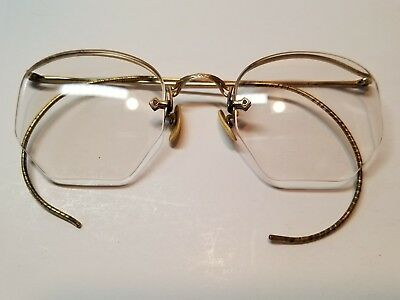 28696aac193 Antique 1 10 12K Gold Filled Semi Rimless Vintage Eyeglasses with case