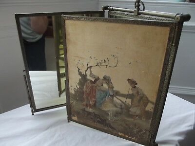 Antique French Empire Travel Hanging & Dresser Top Tri-Fold Mirror Silk Panels