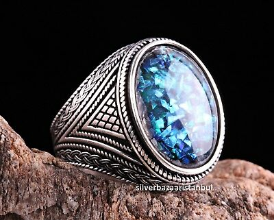 Turkish 925 Sterling Silver Solid Chrysoprase stone mens Mans ring ALL SİZE USA