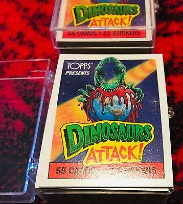 Dinosaurs Attack 1988, Trading Card w/11-Sticker Set NM 9.6+ ( Topps )