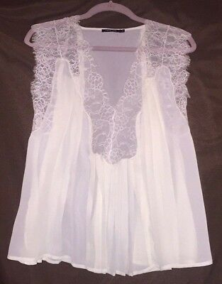 7d6a2778590f97 Anthropologie Women s LOVE SAM Sleeveless Flowy Ivory Top Blouse sheer lace  M