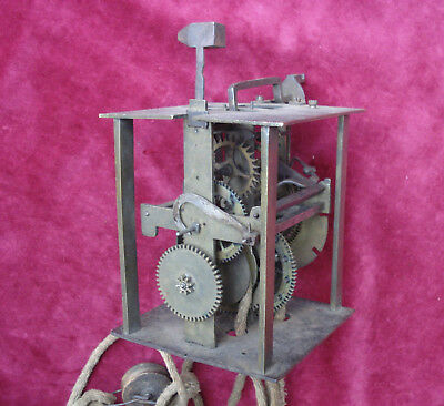 UNUSUAL SMALL 18th C POSTED FRAME 30 HOUR HOOD OR LANTERN CLOCK MOVEMENT