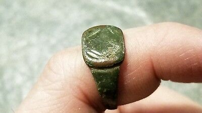 Ancient Roman Bronze RING (#1c) Worn Square Bezel, Lines, 21 mm, Wearable