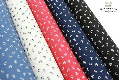 Small Anchor Print Poplin, Nautical,100% Cotton, 5 Colours, High Quality, 44""