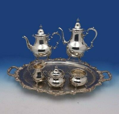 Strasbourg by Gorham Sterling Silver Tea Set 5-Piece and SP Towle Tray (#3168)