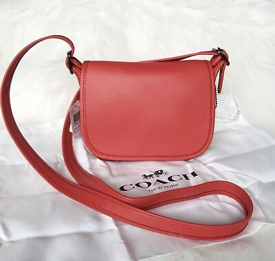 Coach 57731 Glove Tanned Leather Saddle Bag Flap Top Crossbody   Deep Coral  NWT 15debc2a92