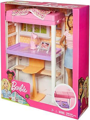 Barbie Bunk bed Desk Bed Furniture Doll Playset NEW Mattel Dollhouse NIB Office
