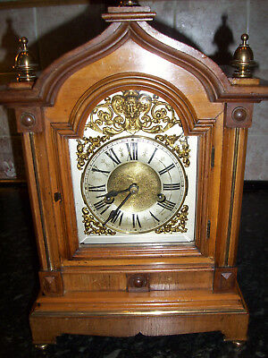 ANTIQUE GERMAN 'HAC' BRACKET 14-DAY MANTEL CLOCK WITH CHIMES, 19th Century