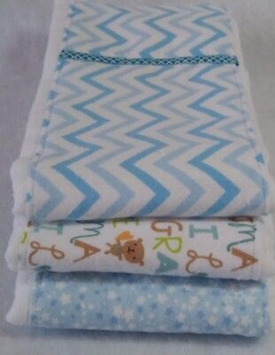 Set of 3 Baby Girl Blue Anchor Dots Cloth Diaper Burp Rags 100/% Cotton Brand NEW
