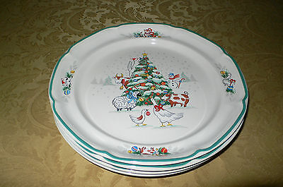International China Country Christmas 4 Dinner Plates Excellent!