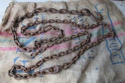 Large 14.5ft Old Farm Industrial Heavy Cast Iron Chain + Lifting Hook & Ring