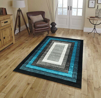 New Large Small Teal Silver Black Modern Living Room Rugs Hall Runners Rug Mat