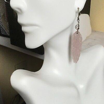 Antique Chinese Carved Rose Quartz hat ornament Long Silver Pierced Earrings