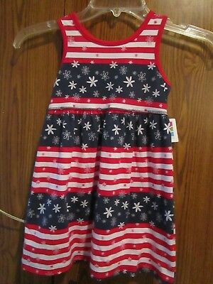 011132f9370 OSHKOSH B GOSH GIRL S RED WHITE BLUE 4th Of JULY SLEEVELESS DRESS SZ ...