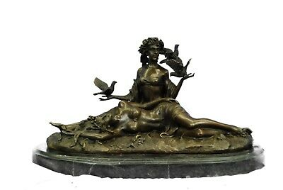 Genuine Bronze Metal Statue Stone Nude Women Lesbian Art Love Lovers Sculpture