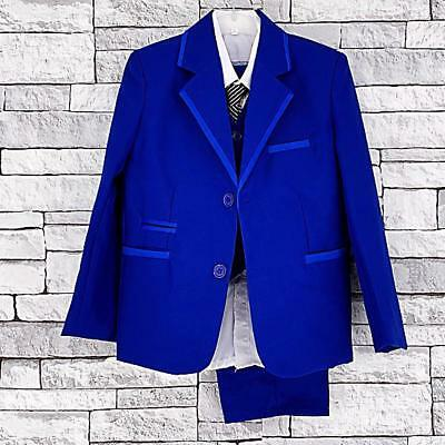 Page Boy Suits,Waistcoat Suit Formal 5 Piece Blue Suit,Wedding,Party  4-14Years