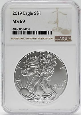 2019 American Silver Eagle 1 Oz NGC MS69 $1 Coin Brown Label Certified JB565