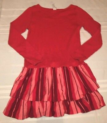Tea Collection Girls Shades of Pink Long Sleeve Striped Ruffle Dress Size 10
