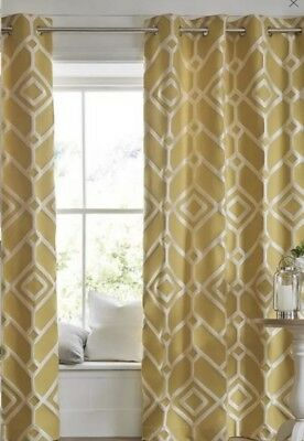 "Next Curtains yellow Geo Lattice eyelet curtains 168x183cm 66 X 72"" New"