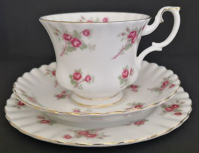 Rare Royal Albert ROSE TIME Bone China 3pcs Trio Cup Saucer Desert Side Plate #4