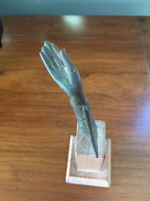 Antique Bronze Hand Fragment Southeast Asia 15Th/16Th Century On Wooden Base