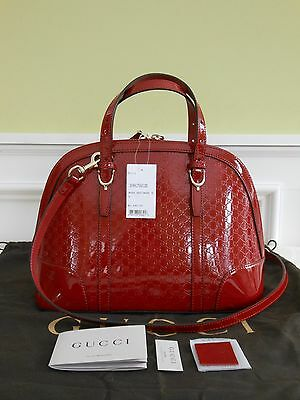 24808528ac4 GUCCI NICE MICROGUCCISSIMA Red Patent Leather Wallet Handbag NEW AND ...
