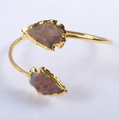 Defective Hand Knapped Arrowhead Natural Jasper Bangle Gold Plated T060636