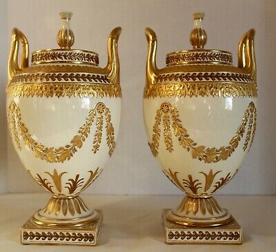Rare And Beautiful Pair Wedgwood Queen's Ware Urns & Covers 19Th Century