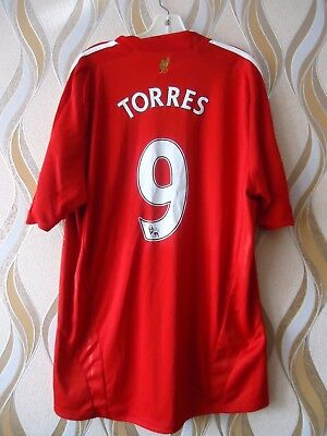 42f58bede Fernando Torres 9 LIVERPOOL FC home jersey shirt ADIDAS 2008-2010 adult  SIZE M