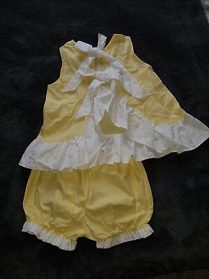 Girls Spanish Set Outfit Frill Shorts/Bloomers With Open Back Vest Top Age 6,7,8