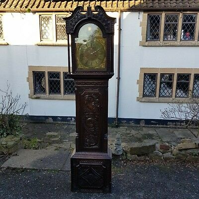 A Stunning 18TH Century Oak Longcase Clock with Later Carved Case 8 Day Movement