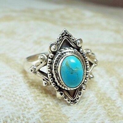 * SLEEPING BEAUTY TURQUOISE RING *, .925 Sterling Silver, Size 6.5
