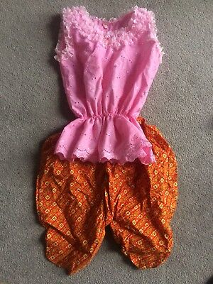 Kids Thai Asian Traditional Outfit - Top Trousers  Pink White Size 3 Yrs