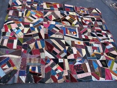 STRIKING, ID'd. ANTIQUE DATED 1892 New England Patchwork CRAZY Quilt Top, Crafts