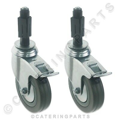 BRAKED SWIVEL CASTORS WHEELS PAIR OF 25mm SQUARE LEG INSERTS BRAKE EXPANDER