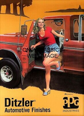 1980 Ppg Paints Sexy Daisy Dukes Pinup 12X16 Advertising Poster Pickup Truck