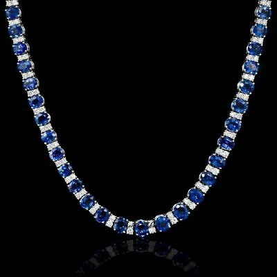 45ct Diamond Blue Sapphire 14k White Gold Over Classic Necklace Over Silver 18""