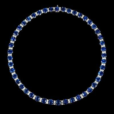 Blue Sapphire and Diamond 14k White Gold Over Classic Tennis Necklace 18""