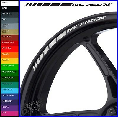 12 x Honda NC750X Wheel Rim Decals Stickers - 20 colours available - dct dtc