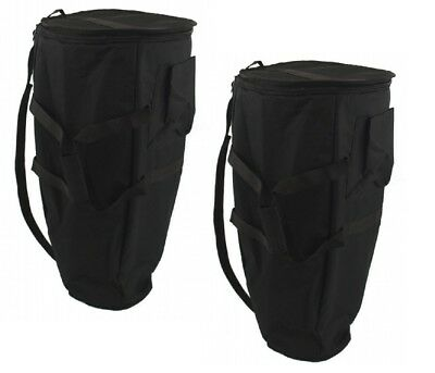 """Set of 2 - 12"""" Deluxe Padded Conga Drum Gig Bags Travel Case Plush"""