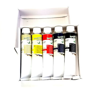 Set of 5 Oil Paints Large 170 ml Tubes Black White Red Yellow Blue - Artist