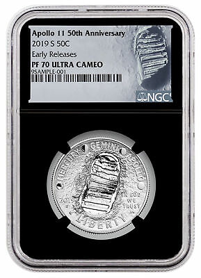 2019 S Apollo 11 50th Commem Clad Half Dollar NGC PF70 ER Black Core SKU57113