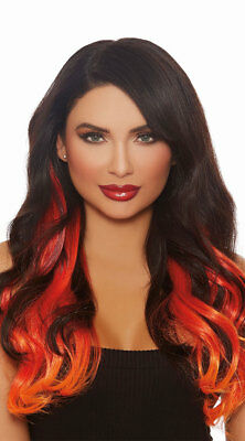 Dreamgirl Long Ombre Red Wavy Hair Extensions Halloween Costume Accessory 11405