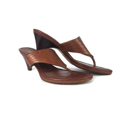 390bbcac75fc Cole Haan Womens Woven Leather Low Heel Thong Sandals 9.5B Brown Slide Pump