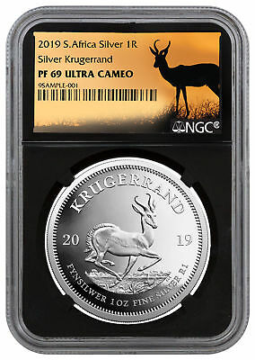 2019 Africa 1 oz Proof Silver Krugerrand NGC PF69 Black Springbok Label SKU56659