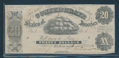 "Csa #t-9 1861 $20 ""sailing Ship"" Note Xf Au Hw4901"