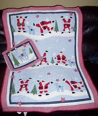 FLAW Pottery Barn Kids Santa Claus Christmas Quilt Baby Crib Toddler Bed + SHAM